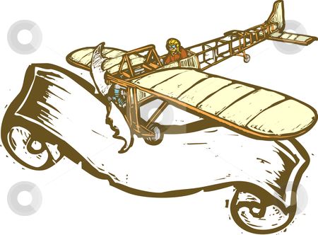 Aviation Banner stock vector clipart, Vintage airplane with scroll banner in woodcut style. by Jeffrey Thompson