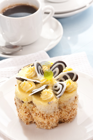 Fancy cake stock photo, Food series: sweet yellow cake with cream by Gennady Kravetsky