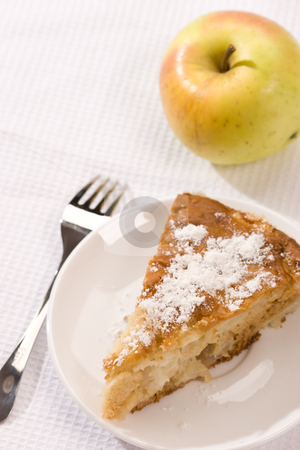 Apple-pie stock photo, Food serias: apple-pie on the plate with icing sugar by Gennady Kravetsky