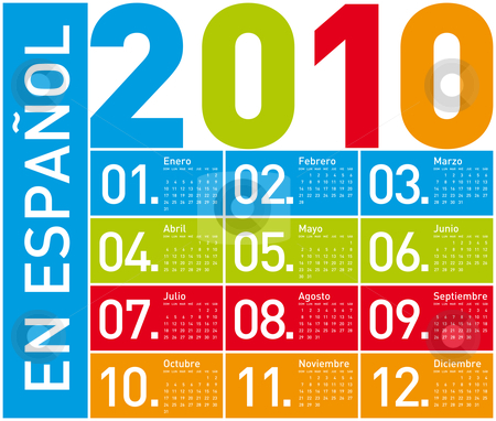 Colorful Calendar for 2010, in Spanish stock vector clipart, Colorful Calendar for year 2010. in vector format. In Spanish. by Germán Ariel Berra