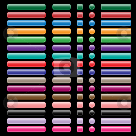 Web buttons collection in assorted colors stock vector clipart, Web buttons set in assorted colors, shapes and sizes. Isolated on black background. by toots77