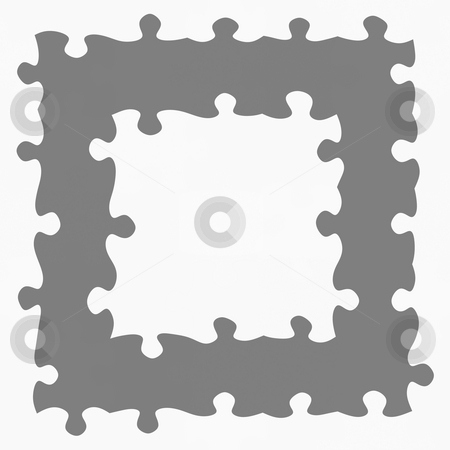 Grey jigsaw frame stock photo, Monochrome texture of puzzle pieces in a square frame by Wino Evertz