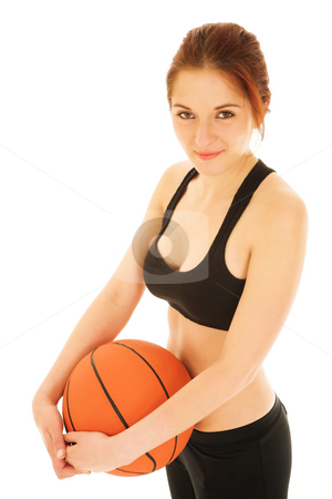 Basketball Girl #1 stock photo, Sexy Girl with Basketball and Black top by Sean Nel