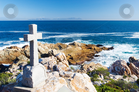 Graves #16 stock photo, Old stone Grave in the shape of a cross at Gordons Bay,  South Africa by Sean Nel