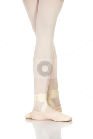 Ballet Steps stock photo, Young caucasian ballerina girl on white background and reflective white floor showing various ballet steps and positions. Fifth Position. Not Isolated. by Sean Nel