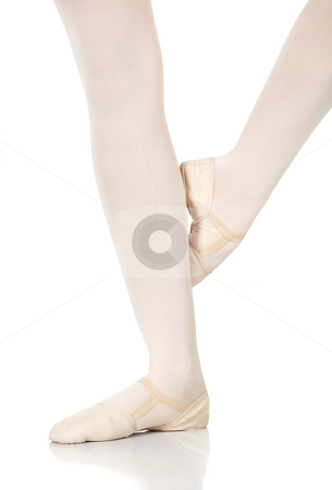 Ballet Steps stock photo, Young caucasian ballerina girl on white background and reflective white floor showing various ballet steps and positions. Petit retire. Not Isolated. by Sean Nel