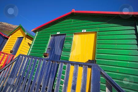 Muizenberg beach #2 stock photo, Multi-colored dressing rooms on the beach at Surfers Corner, Muizenberg, South Africa by Sean Nel