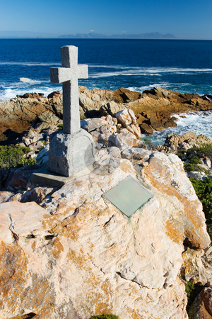 Graves #17 stock photo, Old stone Grave in the shape of a cross at Gordons Bay,  South Africa by Sean Nel