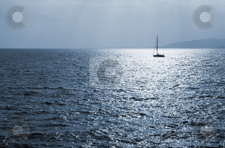 StRaphael #10 stock photo, Single sailboat on the Mediterranean Sea  by Sean Nel