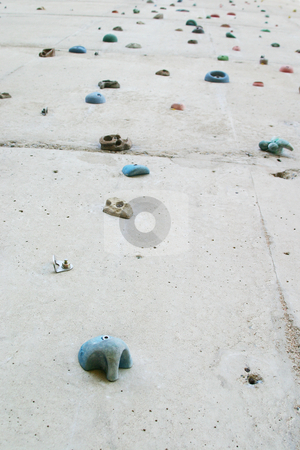 Wall climbing stock photo, Climbing wall with grips by Sean Nel