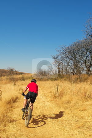 Mountainbiking #7 stock photo, Lone racer on his mountainbike - Copy Space by Sean Nel
