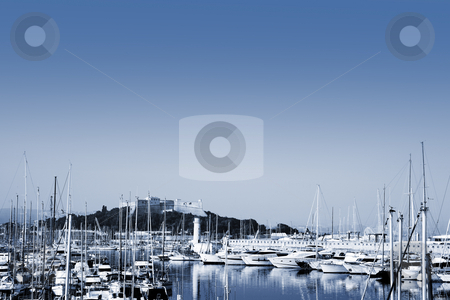 Antibes #277 stock photo, A harbor  in Antibes, France.   Blue tone.  Copy space. by Sean Nel