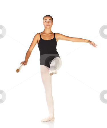 Ballet Steps stock photo, Young caucasian ballerina girl on white background and reflective white floor showing various ballet steps and positions. Grand Battement. Not Isolated. by Sean Nel