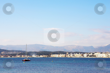 Antibes #289 stock photo, A yacht on the ocean  in Antibes, France.    Copy space. by Sean Nel