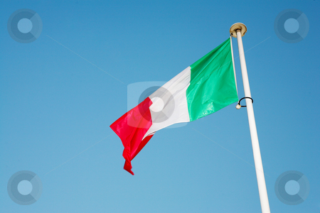 Cannes #58 stock photo, Italian Flag blowing in the wind by Sean Nel