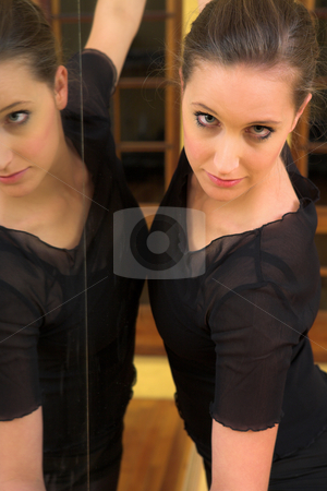 Ballerina #41 stock photo, Danser standing against mirror by Sean Nel