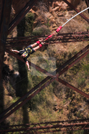 Bungee jumper #3 stock photo, Bungee Jumper at Gouritz River Bridge, South Africa - Movement on Jumper by Sean Nel