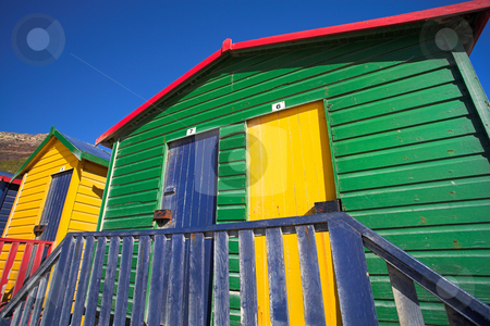 Muizenberg beach #3 stock photo, Multi-colored dressing rooms on the beach at Surfers Corner, Muizenberg, South Africa by Sean Nel