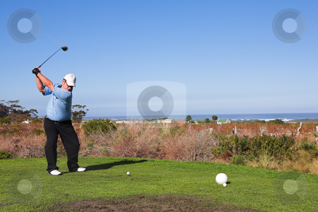 Golfer #58 stock photo, A golfer playing golf on a green.  Movement on golf club, but head is in focus. by Sean Nel
