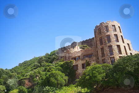 The old and new Castles of Noetzie stock photo, The Castles at Noetzie beach and reservation area in the Eastern Cape, South Africa. A newer castle is in the foreground with one of the old castles in the background (further up the hill) by Sean Nel
