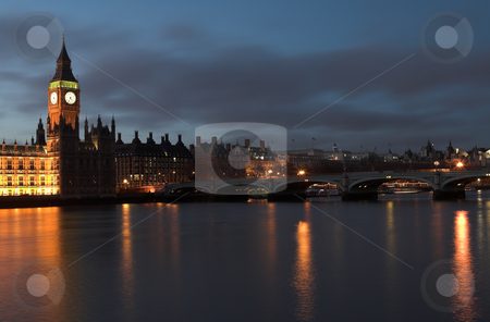Big Ben #7 stock photo, Big Ben and the house of parliament just after sunset on the river Thames by Sean Nel