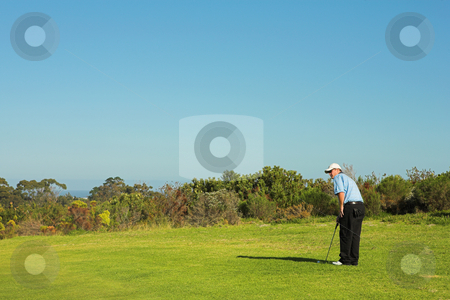 Golfer #39 stock photo, A golfer playing golf on a green. by Sean Nel