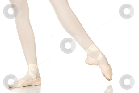 Ballet Steps stock photo, Young caucasian ballerina girl on white background and reflective white floor showing various ballet steps and positions. Battement Glisse. Not Isolated. by Sean Nel