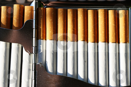 Tobacco #3 stock photo, Cigarettes in a cigarette case by Sean Nel