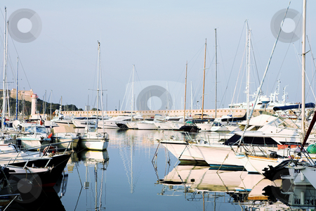 Antibes #281 stock photo, A harbor  in Antibes, France.  Pastel colour. Copy space. by Sean Nel