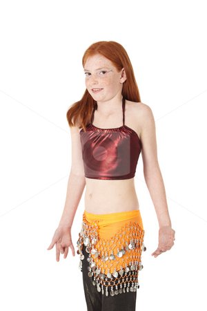 Young belly dancing girl stock photo, Young Caucasian belly dancing girl in beautiful decorated clothes on white background. Not isolated by Sean Nel