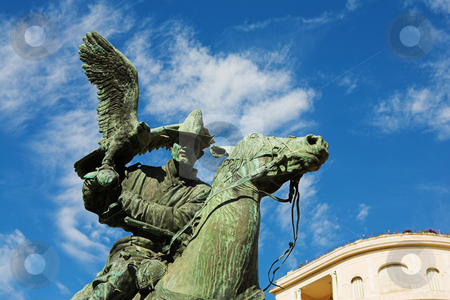 Menton #16 stock photo, Statues of the falconers in the public square at menton by Sean Nel