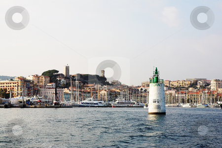Cannes #47 stock photo, The harbor (Port Le Vieux) in Cannes, France, with the Musee de la Castre and  La Tour du Suquet in the background. by Sean Nel