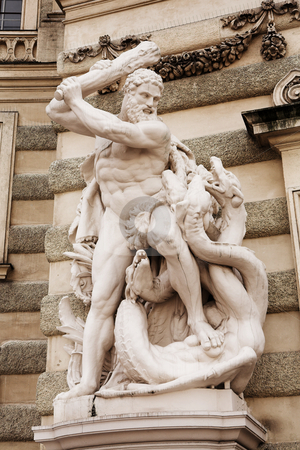 Vienna #31 stock photo, The statues of Hercules outside the Hoffberg Palace - Fighting the Hydra by Sean Nel