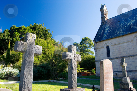 Graves #8 stock photo, Old stone Grave in the shape of a cross at the Belvedere Church, Knysna, South Africa by Sean Nel