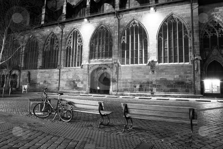 Munich #46 stock photo, Bicycle in front of a old building.  Black and white. by Sean Nel