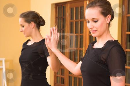 Ballerina #48 stock photo, Dancer standing next to mirror by Sean Nel