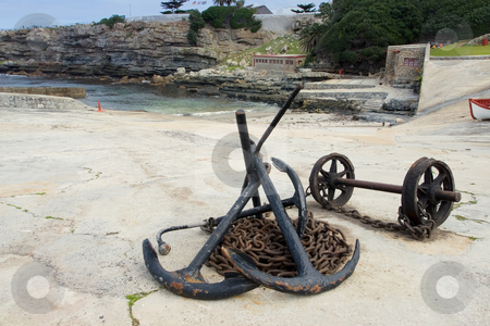 Harbour #7 stock photo, Anchors and anchor chains on Hermanus Harbour, South Africa by Sean Nel