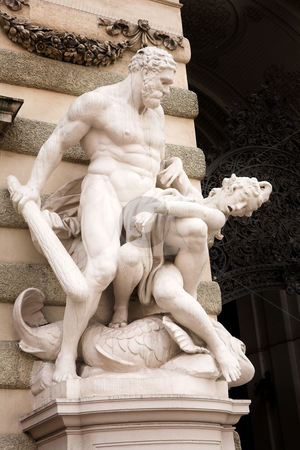 Vienna #32 stock photo, The statues of Hercules outside the Hoffberg Palace by Sean Nel