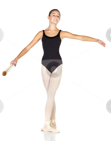 Ballet Steps stock photo, Young caucasian ballerina girl on white background and reflective white floor showing various ballet steps and positions. Starting Position. Not Isolated. by Sean Nel