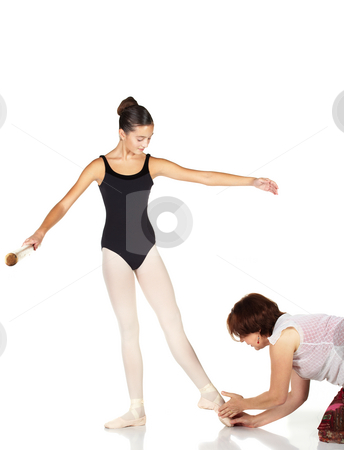 Ballet Steps stock photo, Young caucasian ballerina girl on white background and reflective white floor showing various ballet steps and positions being corrected by teacher. Not Isolated. by Sean Nel