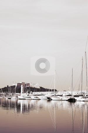 Antibes #288 stock photo, A harbor  in Antibes, France.  Duo tone. Copy space. by Sean Nel