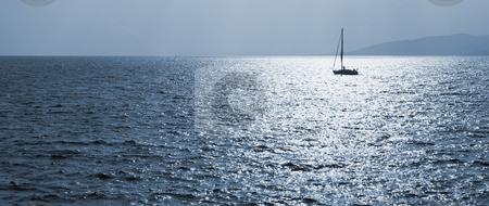 StRaphael #11 stock photo, Single sailboat on the Mediterranean Sea  by Sean Nel