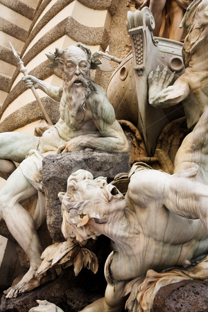Vienna #28 stock photo, The statues of Hercules outside the Hoffberg Palace by Sean Nel