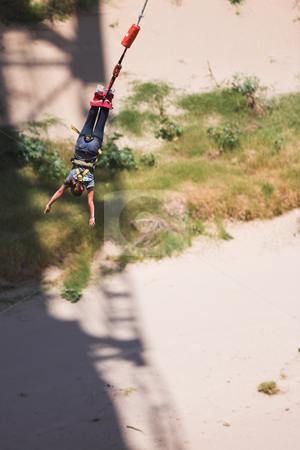 Bungee jumper #5 stock photo, Bungee Jumper at Gouritz River Bridge, South Africa - Movement on Jumper by Sean Nel