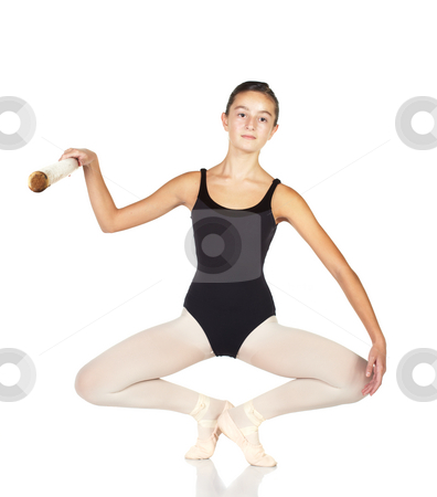 Ballet Steps stock photo, Young caucasian ballerina girl on white background and reflective white floor showing various ballet steps and positions. Full Plie in Fifth Position. Not Isolated. by Sean Nel