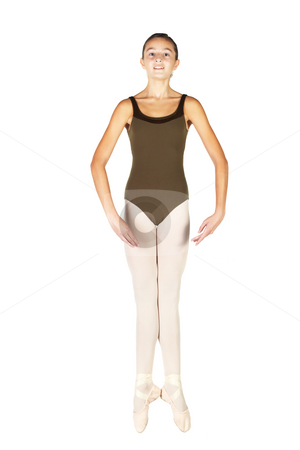 Young Ballet Dancer stock photo, Young female ballet dancer showing various classic positions on a white background - Saute in 1st position. NOT ISOLATED by Sean Nel