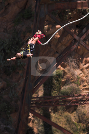 Bungee jumper #4 stock photo, Bungee Jumper at Gouritz River Bridge, South Africa - Movement on Jumper by Sean Nel