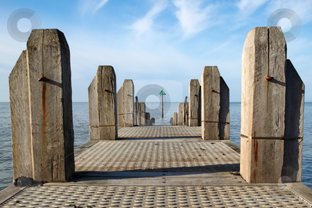 A jetty in Aberystwyth with a calm sea. stock photo, A jetty in Aberystwyth with a calm sea. by Stephen Rees