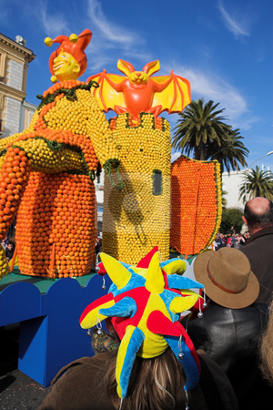 Menton #19 stock photo, Spectators on the Citrus parade in Menton, France by Sean Nel