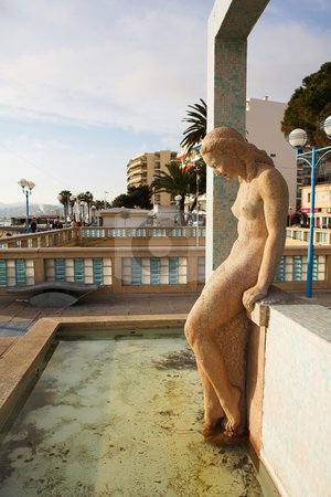 JuanLesPins #7 stock photo, The famous bathing lady of Juan Les Pins - Sunset by Sean Nel